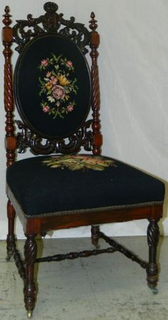 Victorian walnut carved needlepoint side chair.