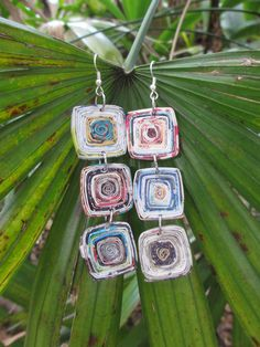Recycled Magazine Paper Earrings by Royal Suzie Jewelry  #BOHO #Colorful #Earrings <3 See more like this at  https://www.etsy.com/listing/209943478/colorful-recycled-magazine-chandelier