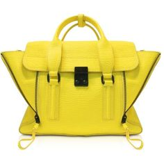 3.1 Phillip Lim Electric Yellow Pashli Medium Satchel ($895) ❤ liked on Polyvore