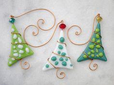 Christmas Tree Ornaments 3 Fused Glass Polka by FleetingStillness
