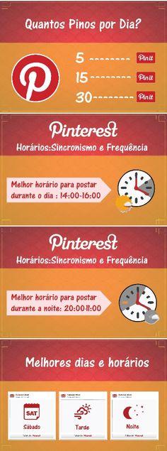 Infográfico Horários Pinterest. Aprenda como trabalhar sua estratégia de marketing digital. Veja como unificar a sua estratégia com seu funil de vendas #PInterest #Horários #Marketing