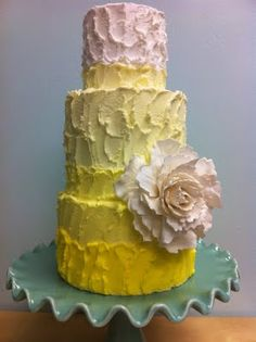 The Frosted Cake Shop- Yellow Ombre 3-tiered Cake with sugar peony