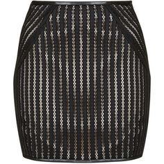 Down the Line - Black Stripy Lace Miniskirt With Nude Lining by Goldie