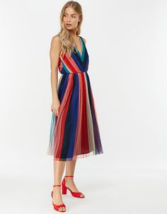 Simone Stripe Pleated Mesh Dress | Navy | 14 | 6429116114 | Monsoon