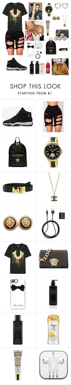 """""""Wed.1/10/17 85th day of school 🖤✨"""" by aleciadowdemll ❤ liked on Polyvore featuring beauty, NIKE, Versace, Vince Camuto, MCM, PhunkeeTree, True Religion, Casetify, Victoria's Secret and CO"""