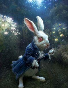 Nivens McTwisp [Tim Burton's Alice in Wonderland] - blue acid wash pants, black doc martens, silver stud belt, blue blazer, blue vest, white tee, wonderland key necklace, white gloves, whit bunny ears, pocket watch