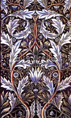 "pre-raphaelisms: ""Tile panel designed by William Morris and made by the firm of William de Morgan. (1876) """