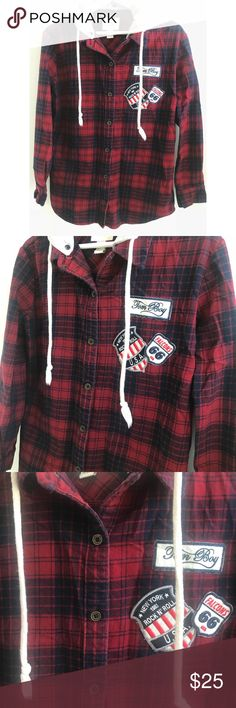 Women's Red Flannel S Red/blue color. With adjustable hood-light grey. From forever 21. Size small. Forever 21 Tops Button Down Shirts
