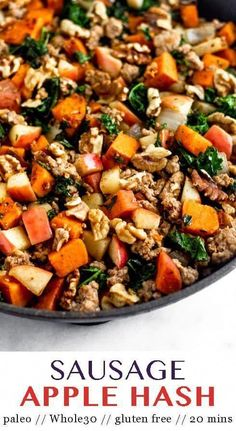 Easy paleo and Sausage Apple Hash made in one pan and in 20 mins! Perfe… Easy paleo and Sausage Apple Hash made in one pan and in 20 mins! Perfect for sweet & savory comforting breakfast and great for meal… Continue Reading → Whole30 Sweet Potato, Sweet Potato And Apple, Healthy Low Carb Breakfast, Healthy Eating, Breakfast Bake, Healthy Fats, Apple Breakfast, Dinner Healthy, Eating Clean