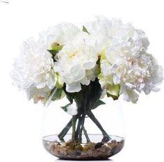 White Peonies In Bubble Waterlike Faux Flower Arrangements, White Peonies, Faux Flowers, Flower Art, Glass Vase, Bubbles, Decor, Fake Flowers, Art Floral