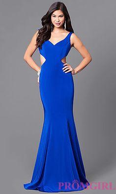 V-Neck Side Cut-Out Floor Length Prom Dress at PromGirl.com
