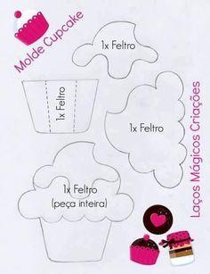 תוצאת תמונה עבור felt cupcake template for quiet book Foam Crafts, Diy And Crafts, Crafts For Kids, Paper Crafts, Felt Patterns, Craft Patterns, Felt Christmas, Christmas Crafts, Felt Cupcakes
