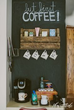 Create a DIY Coffee Bar with pallet shelves and a chalkboard wall | Shaunae Teske Photography