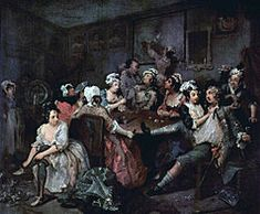A Rake's Progress by William Hogarth (1732-1733) -- a series of 8 paintings following the downfall of a young man who came into fortune and looses it all in brothels and gambling debts.