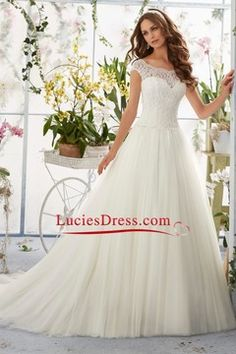 2016 Chic A-Line Wedding Dresses Bateau Court Train V-Back Tulle US$ 229.99 LCPAETFD7K - luciesdress.com