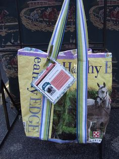 Recycled horse feed tote.  Profits donated. @Jp Davy - thought you'd be interested! :)
