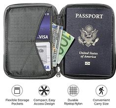 TRAVEL DOCUMENTS ORGANIZER TO KEEP EVERYTHING IN ONE PLACE - Holds 4-10 credit cards, tickets, your ID, money, and other essentials in a compact zipper passport wallet for men and women. Free micro travel pen for customs forms included inside the travel document holder.