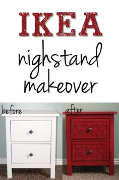 DIY Ikea Nightstand Makeover. Use paint, overlays, and glue to upcycle old furniture into new statement pieces for your home.