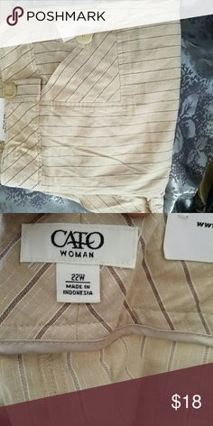Cream pinstripes Pants never worn Flare out at the bottom Cato Pants Wide Leg