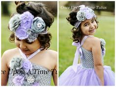 Lavender Gray Couture Satin & Shabby Flower by OnceUponATimeTuTus