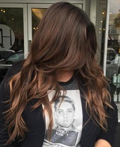 Long+Layered+Chocolate+Hair... Really pinning because of the Elvis shirt