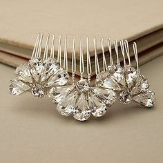 Feather And Fan Crystal Bridal Hair Comb - bridesmaid accessories