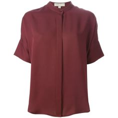Michael Michael Kors Short Sleeve Blouse (12,275 PHP) ❤ liked on Polyvore featuring tops, blouses, t-shirts, red, silk top, red blouse, short sleeve tops, red silk blouse and silk blouses