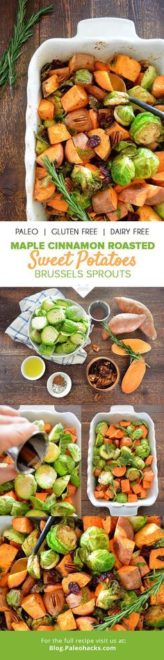 Roasted sweet potatoes and Brussels sprouts get tossed in a sticky, sweet glaze and cooked to perfection in this elegant side dish. For the full recipe, visit us here: http://paleo.co/roastedsweetpotato