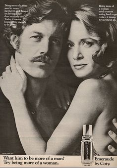 70s hair ideas: mens sideburns and mustache, woman frequently wearing long straight or wavy hair often parted in the middle or slightly off center