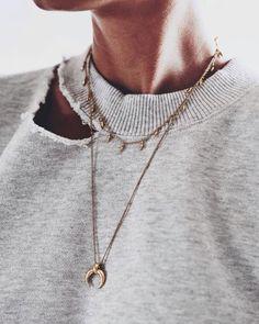 Oversized sweatshirt, distressed sweatshirt, horn necklace, athleisure