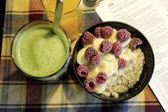 Johanna stärkte sich für ihre Abschlussprüfung mit Porridge und Matcha Latte am Vegan Wednesday