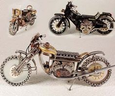 Miniature motorcycles made out of recycled watches - perfect Father's Day gift for any moto-loving dad!