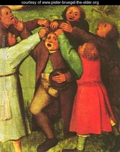 1559-60 Childrens Games (detail 14) by Pieter the Elder Bruegel. Something to do with singing ... or lice?