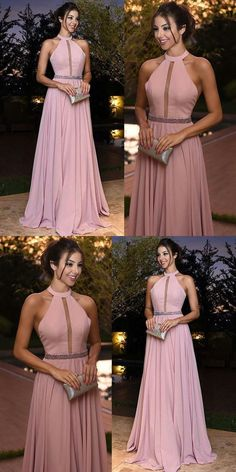 Generous Pink Prom Dress, Round Neck Long Party Dress, Chiffon Evening Dress	#promdress #promgown #prom #dress #gown #longpromdress #simplepromgown #charmingpartydress #eleganteveningdress #promdress #pinkpromgown #RosyProm