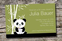 BAMBOO PANDA Baby Shower Invitation.