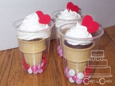 Valentine's cupcake cones transported in a plastic cup.
