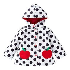 Franterd Solid Coat Little Girls Boys Kids Polka Dot Winter Thick Warm Cloak Jacket