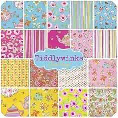 "Tiddlywinks - 36 - 5"" Charm Pack Quilt Fabric Squares By Dena Designs for Freespirit Free Spirit http://www.amazon.com/dp/B00LTY0TXO/ref=cm_sw_r_pi_dp_IJ80ub0ZDWF0S"