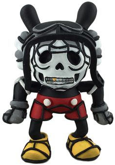 'Deathshead Dunny' by Avatar666 customizing Kidrobot Dunny in the style of David Flores Deathshead Mickey.