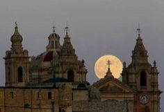 Supermoon behind the cathedral in Mdina, Malta.