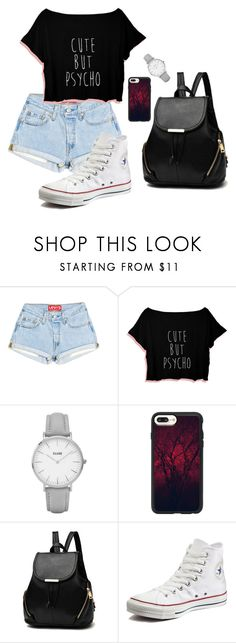 """""""Cute But Psycho"""" by turtle-pie17 on Polyvore featuring Topshop, Casetify and Converse"""
