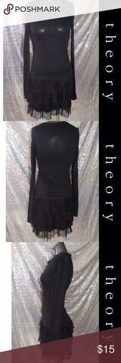 """Theory Lace Casual Dress Size P Drop waist Black Solid Dry clean only Measurements 66"""" Chest, 13"""" Length Materials 100% Nylon (the dress is made of a thin material , dress has three small snag holes in one arm , very small .as is dress )  why Dress is priced super low for an designer *Size P is Petite which Equal a XS/S Theory Dresses Mini"""