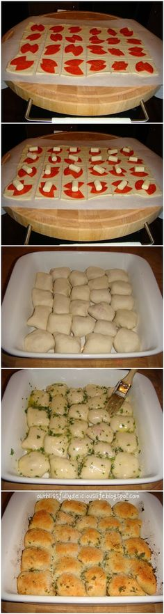 Stuffed Pizza Rolls Ingredients: for the rolls  Pizza Dough (store bought or homemade) Pepperoni 6 Mozzarella String Cheese Sticks 4 tbsp Butter 2-3 Cloves of Garlic, minced 1 tbsp Fresh Parsley, chopped for the dipping sauce  1- 8oz can Tomato Sauce 1 tsp dried Italian Seasoning 1/2 tsp Garlic Powder