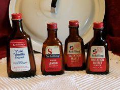 Old Brown Bottles, Vintage Schilling McCormick 1970's Flavoring Bottles, Collectible Bottles, laslovelies