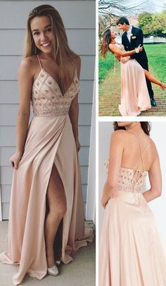 Long prom dresses with side slit, 2019 prom dresses, senior prom dresses/graduation dresses - Vestidos Senior Prom Dresses, Hoco Dresses, Sexy Dresses, Cute Dresses, Wedding Dresses, Graduation Dresses, Elegant Dresses, Pink Dresses, Peach Prom Dresses