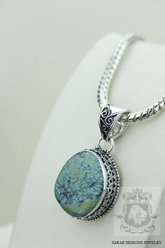 Tibetan TURQUOISE VINTAGE Style Setting 925 Solid Sterling Silver Pendant + 4mm Snake Chain & FREE Worldwide Shipping P2316