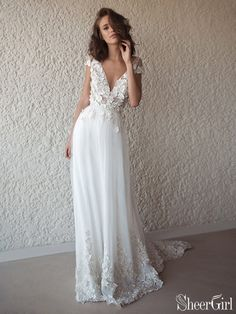 c4cfc8c7fd51 Ivory Cap Sleeve See Through Boho Wedding Dresses Beach Bridal Dress AWD1415