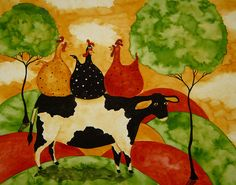 Animal Folk Art Paintings | ... Painting by Debi Hubbs - Hubbs Art Folk Prints Whimsical Farm Animals