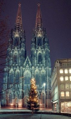 Christmas in Cologne Germany - beautiful cathedral. Cologne Cathedral is a Roman Catholic church in Cologne Germany. Christmas in Cologne Germany - beautiful cathedral. Cologne Cathedral is a Roman Catholic church in Cologne Germany. Places Around The World, Oh The Places You'll Go, Places To Travel, Around The Worlds, Germany Destinations, Voyage Europe, Chapelle, Place Of Worship, Kirchen