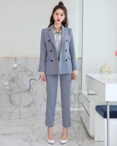 Double-Breasted Flap Pocket Blazer CHLO.D.MANON | #blue #suit #blazer #workwear #officelook #koreanfashion #kstyle #kfashion #springtrend #seoul #suitvest #suit #vest #drawing Office Fashion, Business Fashion, Work Fashion, Ulzzang Fashion, Korean Fashion, Blazer Fashion, Fashion Outfits, Formal Business Attire, Mature Women Fashion
